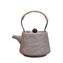 复古粗陶大号茶壶创意功夫茶具陶瓷日式提梁壶石头纹批发定制