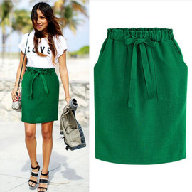Western style professional pencil skirt women's wear high waist and large pocket skirt bow tie bag