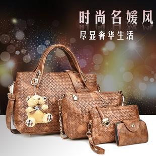 Hot sale female bag 2019 new female bag mother and child bag hanging bear woven single shoulder messenger handbag wholesale