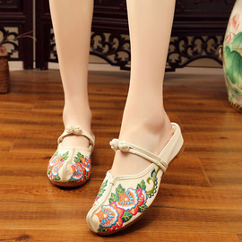 Spring old Beijing style embroidered cool drag cattle rib bottom high slope embroidered women slippers cloth shoes home slippers