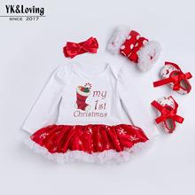 2018圣诞节新款 0-2岁宝宝雪花长袖哈衣裙四件套欧美童装跨境专供