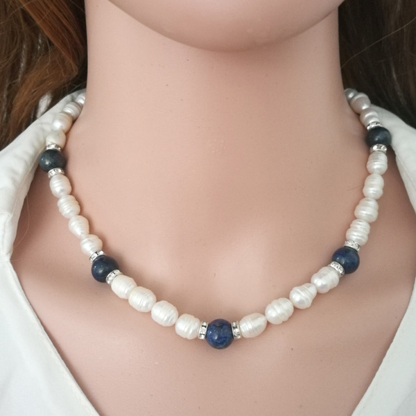 folk-custom pearlnecklace (blue)NHCT0121-blue