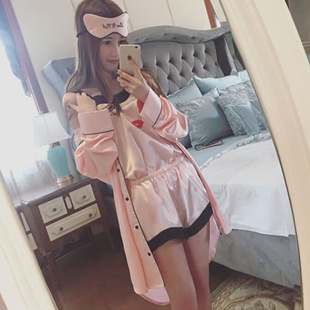 Spring and autumn sexy simulation silk pajamas women summer silk suspenders nightgown four-piece long-sleeved home service shorts suit