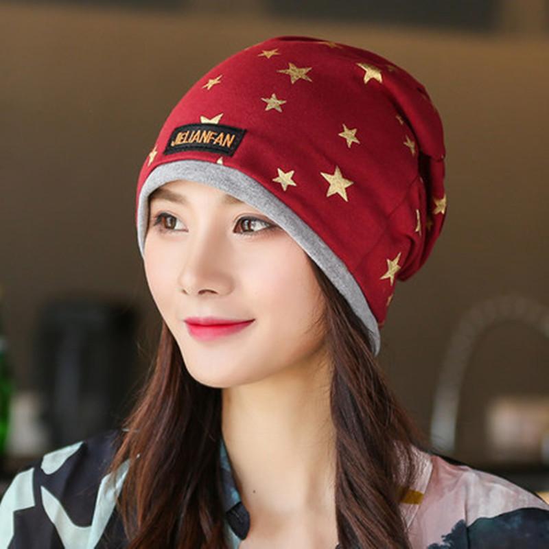 欧美444_帽子秋冬女欧美款包头帽 时尚五角星烫金潮款护耳保暖涂鸦套头帽