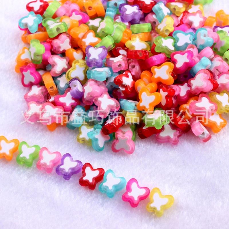 DIY儿童手工串珠材料亚克力双色珠蝴蝶彩珠中珠动物散珠配饰100个