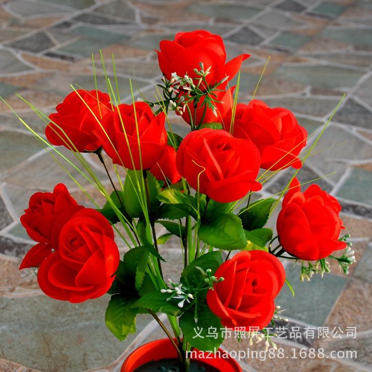 义乌照屏绢花厂家批发手工玫瑰花束 鸡蛋玫把花 12头仙桃玫把花