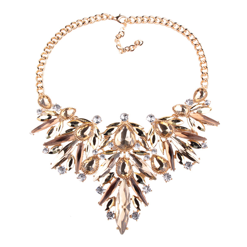 Fashion Alloy Zircon necklace Geometric (Gold)NHJQ9551