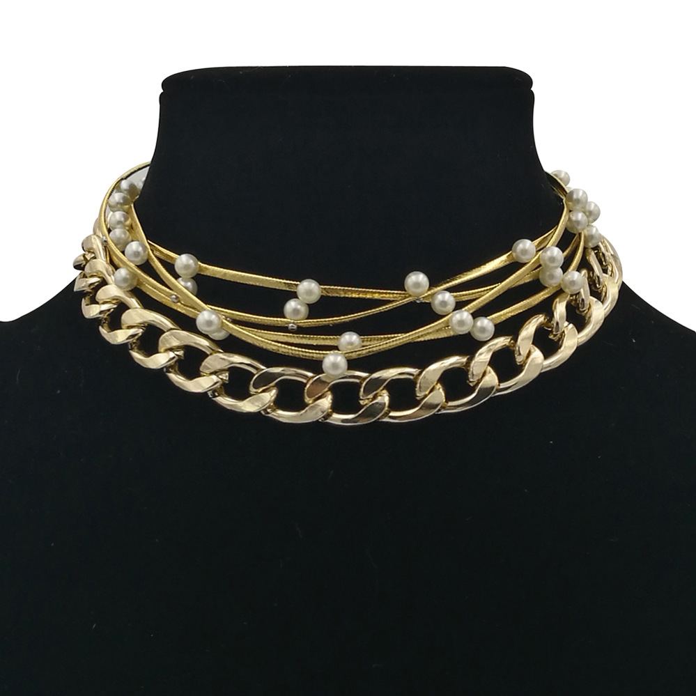 Occident and the United States pearlnecklace (Gold)NHCT0081-Gold