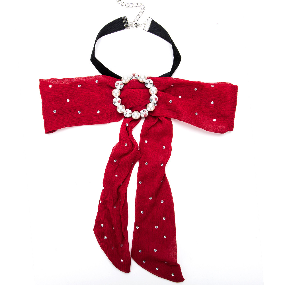 Fashion Alloy Diamond collar Bows (red)NHJE0778-red