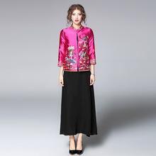 依芙妮2017早秋新款女装名族风刺绣短外套立领七分袖时尚女上衣潮