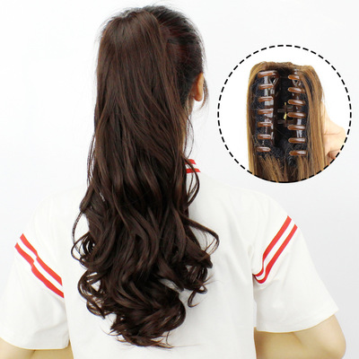 Hair show claw clip wig horse tail lifelike invisible long curly hair grab clip large wave long curly hair fake ponytail