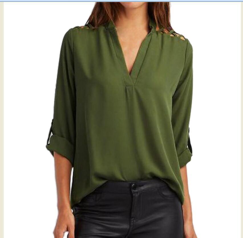Collar Chiffon Shirt Solid Color Shirt Loose Top T-shirt NSYF1066