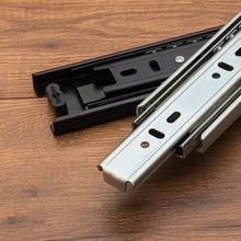 4515#抽屜滑軌靜音三節軌slide家具五金加厚三節可拆滾珠滑軌