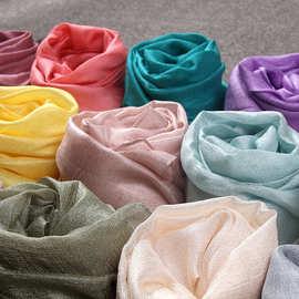 新款荷兰亚麻长款防晒沙滩巾披肩 棉麻纯色围巾珍珠光礼品丝巾女