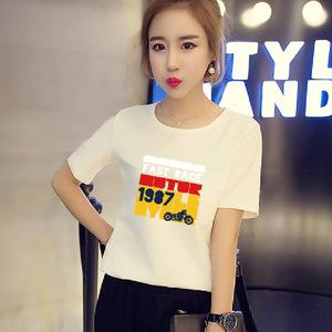 9.9 shipping dress code MM - Korean loose fat all-match cartoon short sleeved T-shirt summer motorcycle