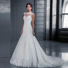 2019外贸新款婚纱礼服新娘结婚韩式一字肩短袖蕾丝批发小拖尾婚纱