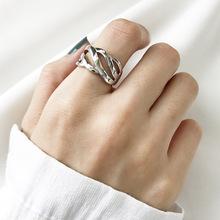潮福猫银饰 韩国韩版925纯银宽版戒 银戒指 女 开口素银戒指戒子