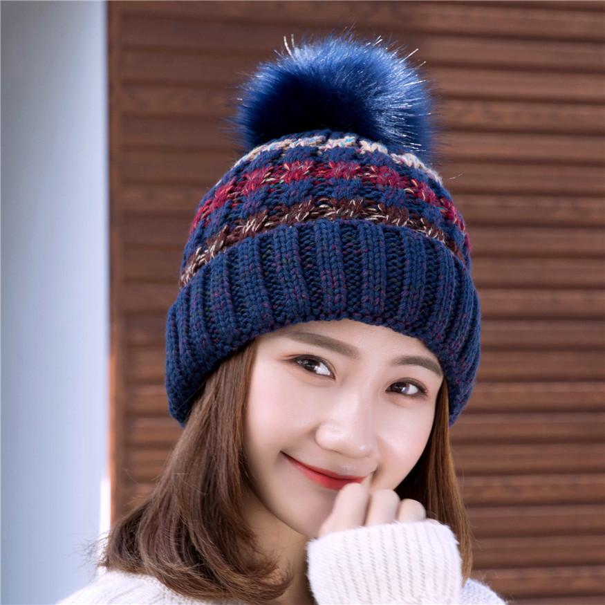 秋冬天帽子女士卷边毛线帽加绒户外毛球保暖针织帽批发新款韩版潮
