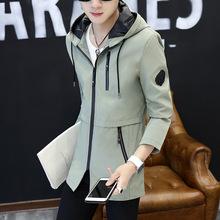 男装2019年春夏新款风衣韩版休闲中长款男青少年修身连帽夹克潮