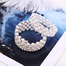 韩国手链饰品 时尚多层珍珠水钻缠绕螺旋手链手镯批发
