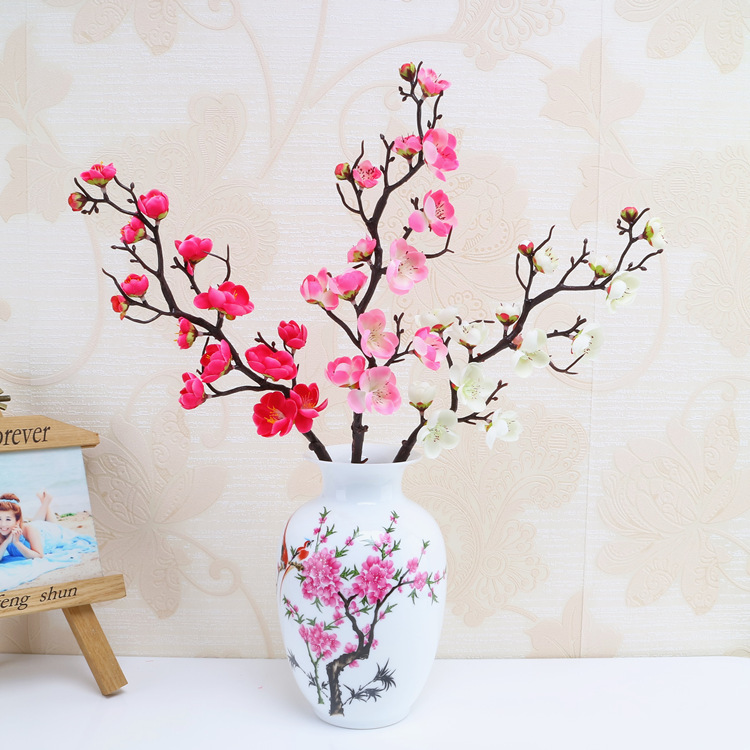 2018 quality artificial flower pastoral plum blossom simulation material the material of the flower head is a silk cloth pole with plastic iron wire application scenario restaurant living room bedroom company mightylinksfo