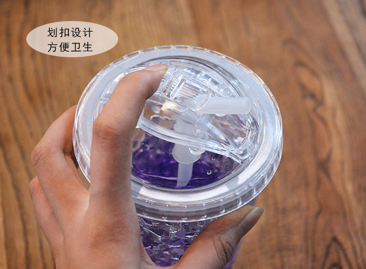 Creative summer ice cup student double-layer plastic drinking cup with lid drinking straw refrigerated ice cup NHtn205382