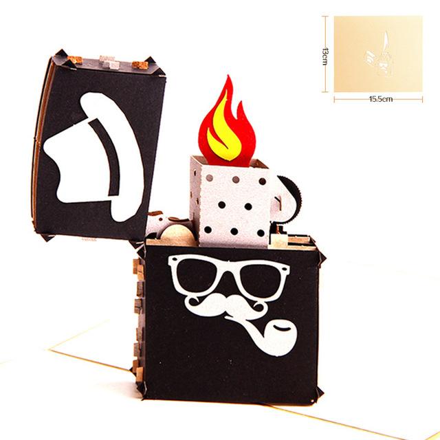父亲节创意3D立体贺卡 手工贺卡中秋节卡片感谢卡定制批发打火机