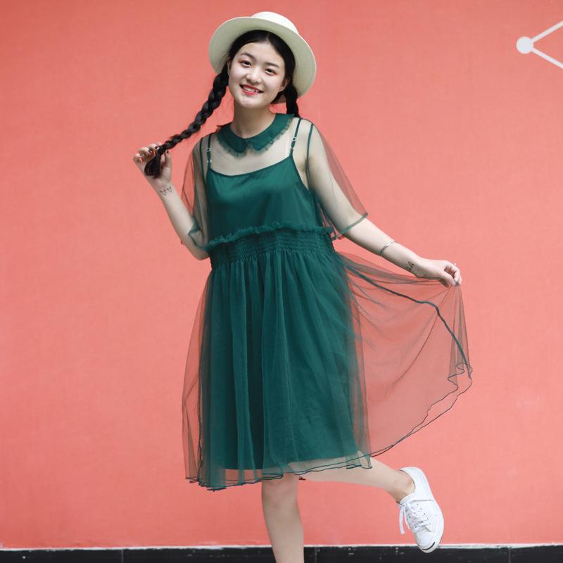 美女与野兽系列少女娃娃领纱裙两件套中长款女士蓬蓬连衣裙春夏