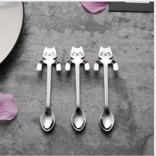 可懸掛不銹鋼貓勺 304攪拌勺  可愛卡通小貓手柄咖啡勺