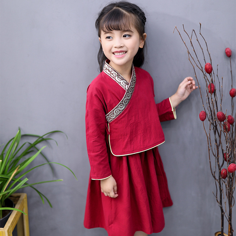 Kids Girl Chinese Asian Traditional QIPAO Costume red Cotton Tunic Summer Dress