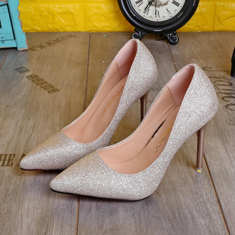 新款女时装单鞋欧美性感超高跟鞋10公分cm细跟亮片婚纱店影楼赠品