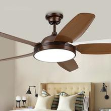 美式风扇灯电风扇吊灯欧式客厅PAC仿木纹扇叶卧室吊扇灯LED餐厅灯