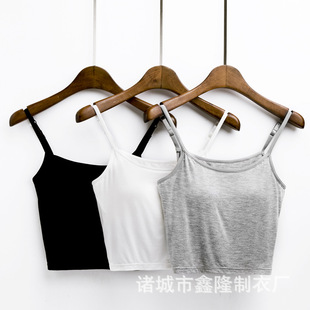 Short sling tube top, female modal inside with a chest pad and navel free bra, one-piece vest, chest-wrapped underwear