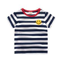 儿童短袖T恤 2017百搭夏季新款童装女宝宝男童棉条纹打底衫上衣潮