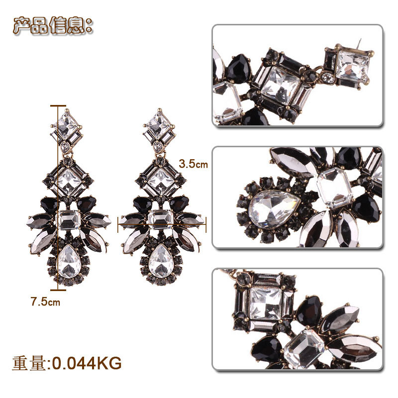 Occident and the United States alloy Inlaid gemstones earring (black)NHJQ9216-black