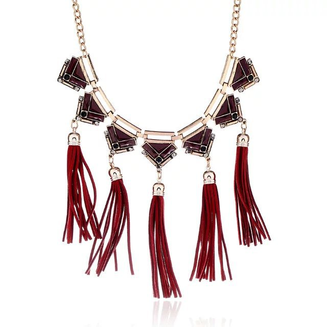 Bohemia Alloy plating necklace Tassel (red)NHMT00614-red