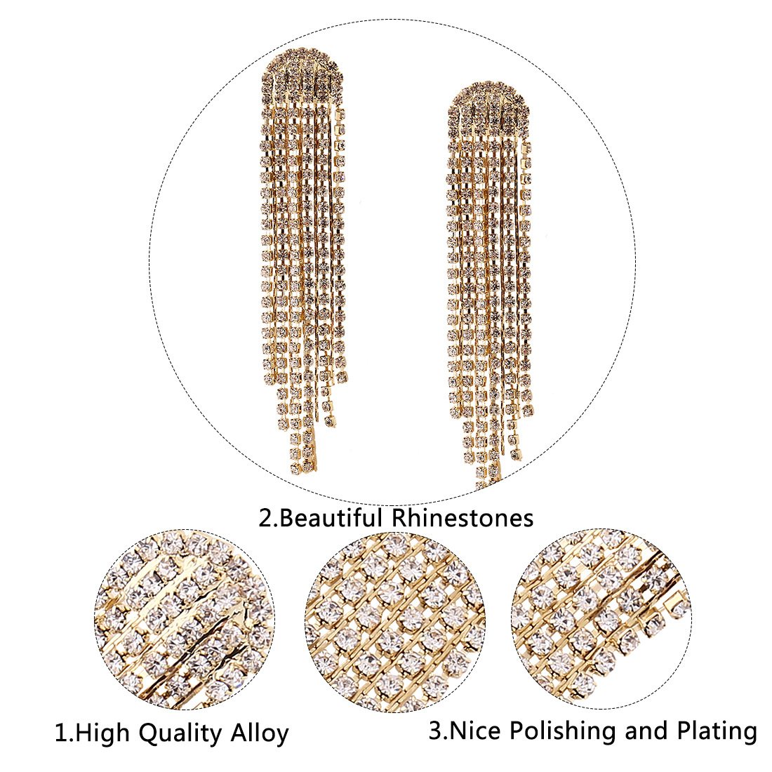 Occident and the United States alloy plating earring (Gold)NHNMD3784-Gold