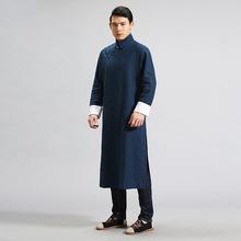 中国风男装中式休闲风衣男 复古文艺斜襟纯麻盘扣长衫支持定制