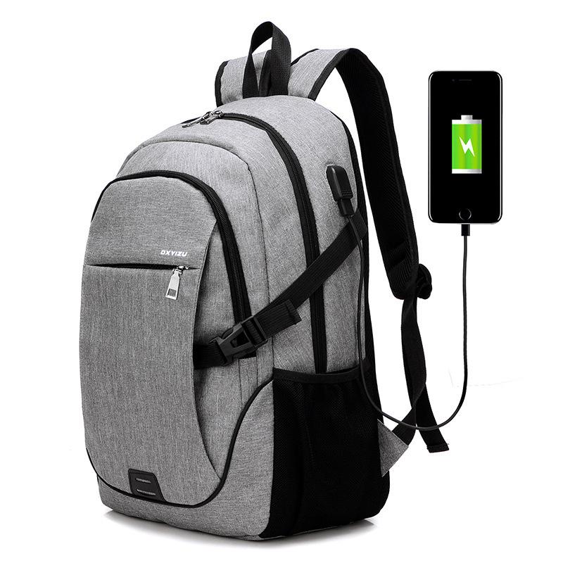 跨境2018新款学生书包充电背包双肩包学院风竖款休闲旅行背包