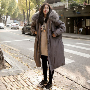 South Korea's Dongdaemun new style cotton-padded jacket women's mid-length Korean version of thick large fur collar large size loose winter clothes