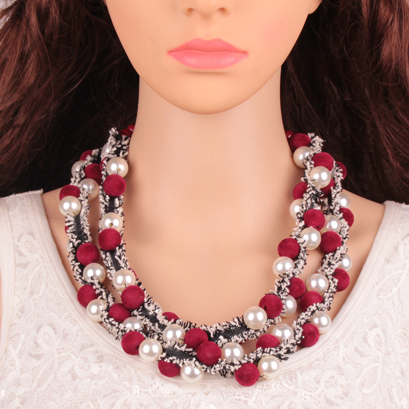 Fashion Pearlnecklace Geometric (red)NHJQ9642-red