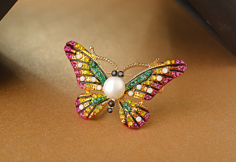 Fashion color Austrian imitated crystal butterfly alloy brooch NHLJ145747