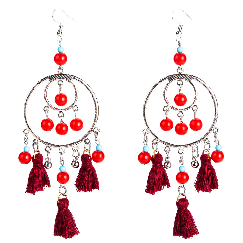 Fashion Alloy hand made earring Geometric (red)  NHJE0919-red