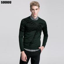 修身不起球男士毛衣针织衫时尚黑色蜻蜓图案绿色套头圆领羊毛衫男