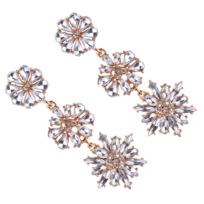 Occident and the United States alloy Diamond earring (blue)NHJQ9181-blue