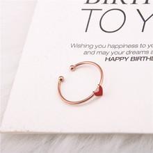 韩版钛钢 红色珐琅爱心形戒指 桃心开口戒子指环女