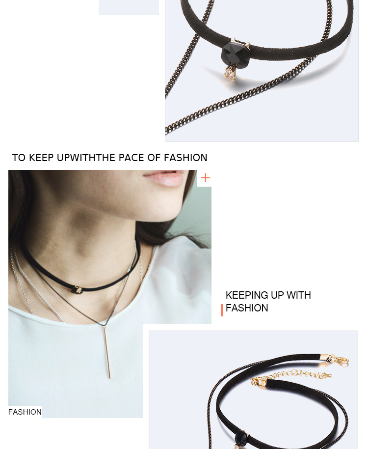 Korea style Korean velvet black necklace (Golden black)NHNTF1264-Golden black