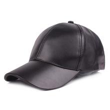 纯色PU弯沿皮质棒球帽潮流男帽鸭舌帽韩版嘻哈帽女帽情侣太阳帽子