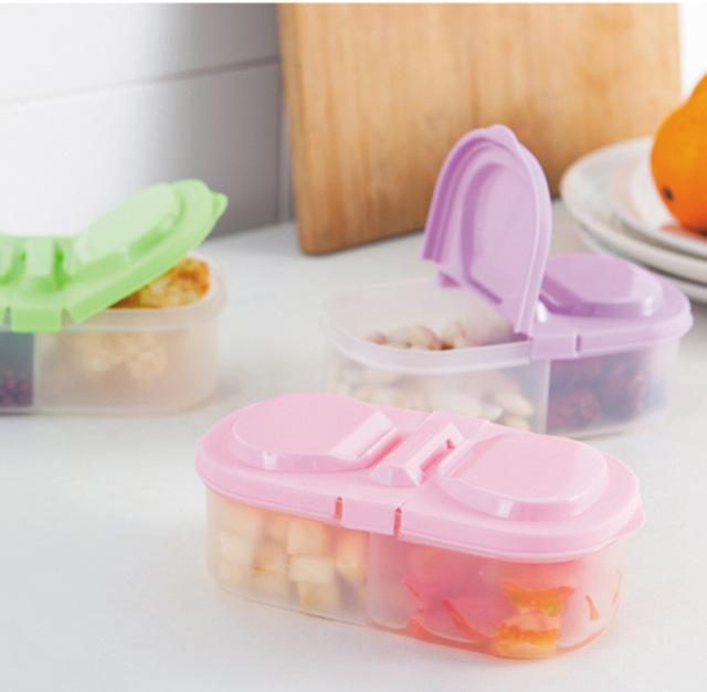 双格带盖宝宝零食水果收纳盒 冰箱保鲜塑料食物收纳盒 办公收纳盒