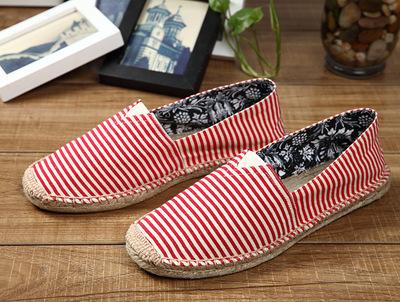 厂家直销条纹帆布鞋麻底透气情侣款休闲低帮鞋男女渔夫鞋一脚蹬